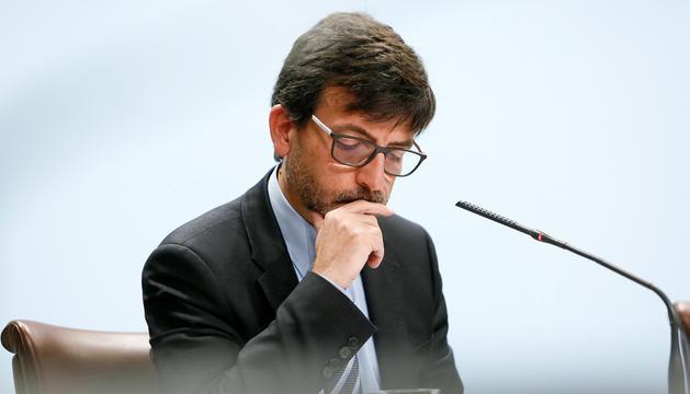 Jordi Cinca en la compareixença posterior a la roda de premsa del consell de ministres