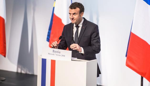 Macron durant el discurs, ahir a Bastia.