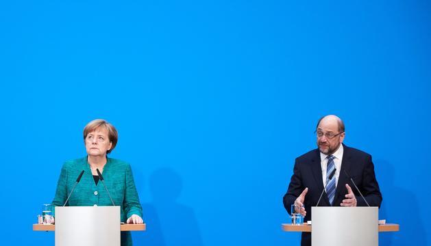 Angela Merkel i Martin Schulz, ahir a Berlín.