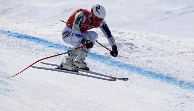 Verdú durant els entrenaments de la combinada alpina
