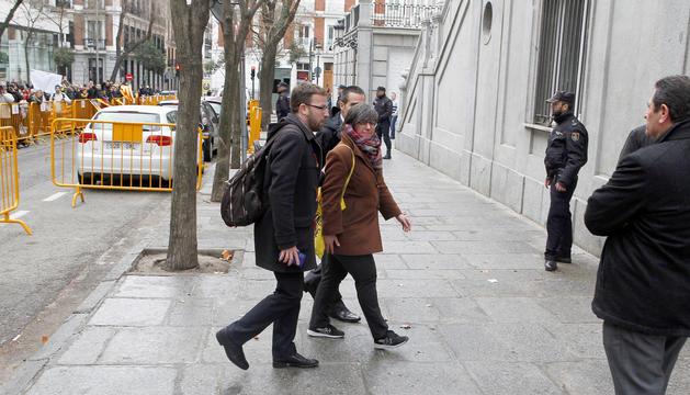 Mireia Boya, ahir després de declarar davant el jutge Pablo Llarena.