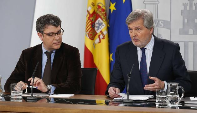 El ministre d'Educació, Íñigo Méndez de Vigo, ahir durant la roda de premsa a la Moncloa.