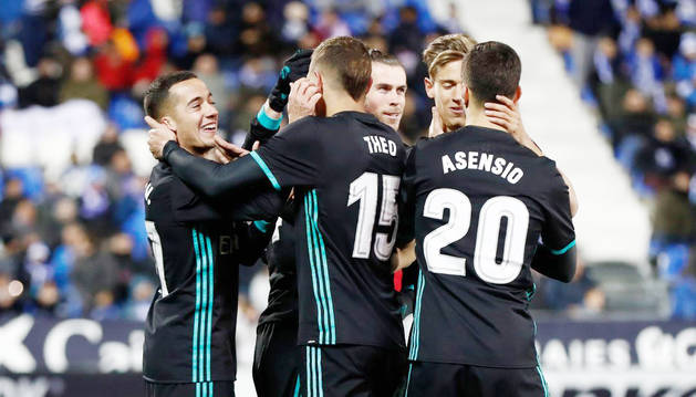 Els futbolistes del Reial Madrid celebren un dels gols aconseguits ahir a Leganés.