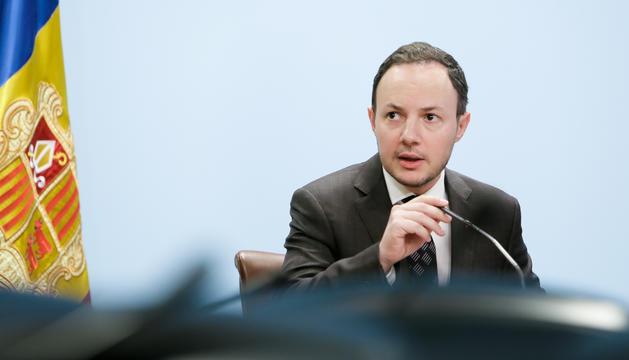 El ministre Xavier Espot en la roda de premsa d'ahir.
