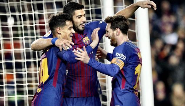 Coutinho, Suárez i Messi van anotar les sis dianes del Barça al Camp Nou.
