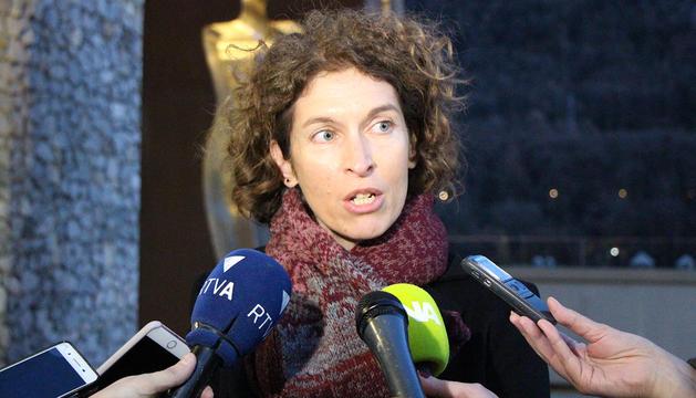La ministra d'Afers Exteriors, Maria Ubach, respon les preguntes dels periodistes aquest dilluns a la tarda.
