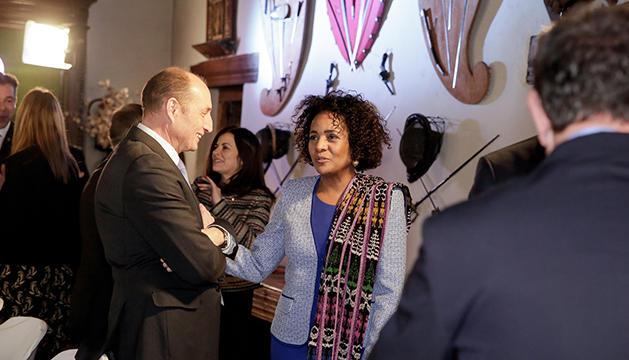 Visita de la Secretaria General de la Francofonia,SE,Sra.Michaëlle Jean.Trobada al Museu d'Areny Plandolit d'Ordino amb diverses autoritats del Principat