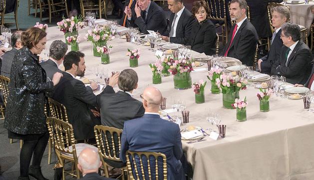 Un moment del sopar de benvinguda al Mobile World Congress, diumenge al Palau de la Música.