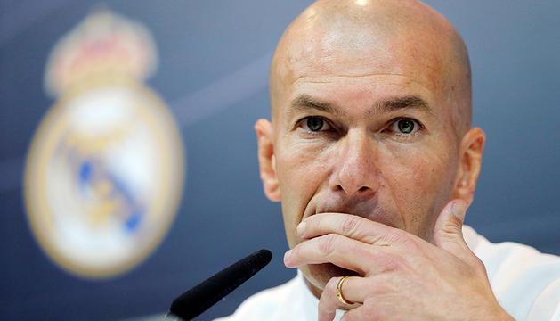 El tècnic, Zinedine Zidane, durant la roda de premsa.