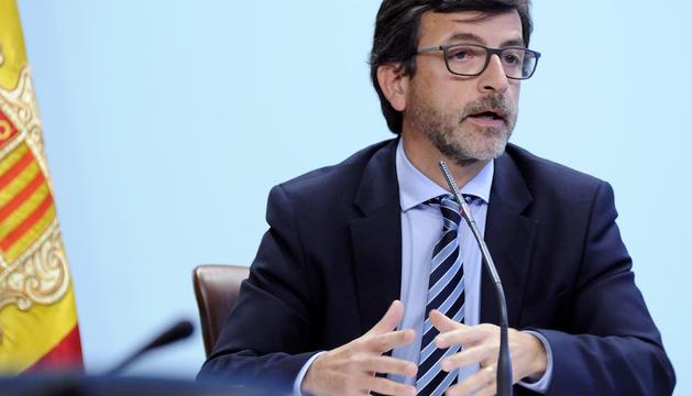 Jordi Cinca en la compareixença d'aquesta tarda després de la reunió del consell de ministres