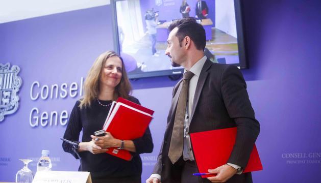 Els consellers generals del PS Rosa Gili i Gerard Alís en una compareixença anterior