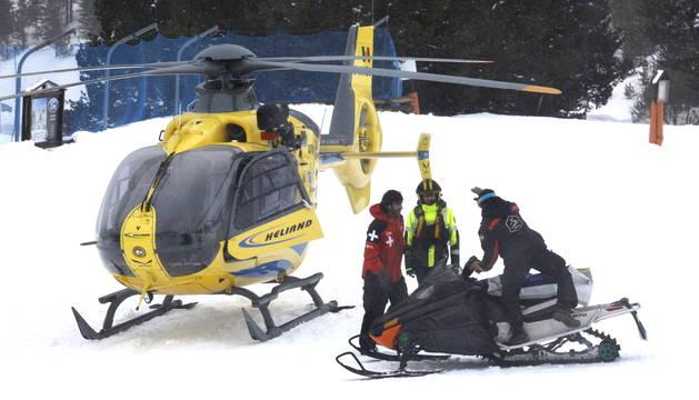 L'helicòpter de rescat a l'estació d'Arcalís aquesta tarda
