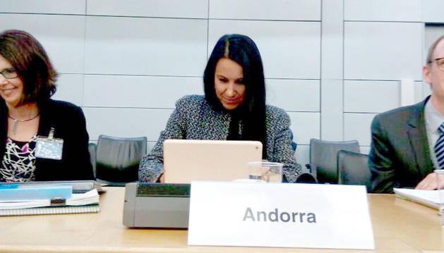 La secretària d'Estat d'Afers Financers Internacionals, ahir a París.