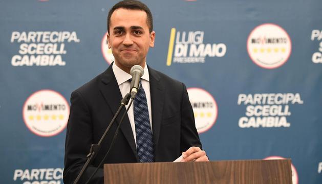 El líder del Moviment Cinc Estrelles, Luigi di Maio, ahir.