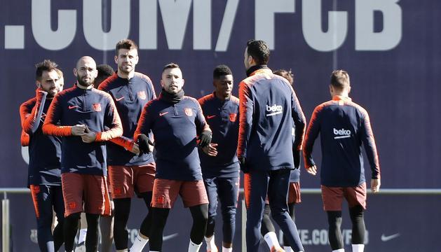 El Barça va entrenar ahir per preparar el matx contra el Màlaga.