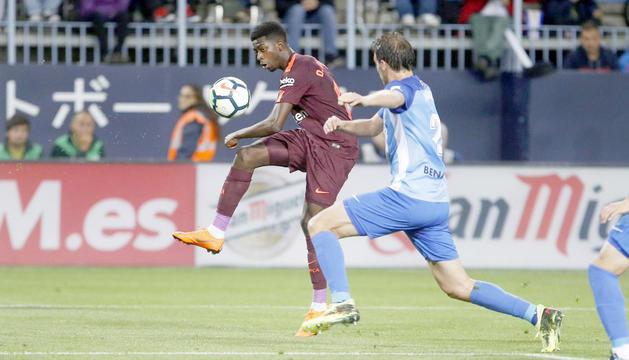 L'extrem del Futbol Club Barcelona, Ousmane Dembélé, ahir a la Rosaleda.