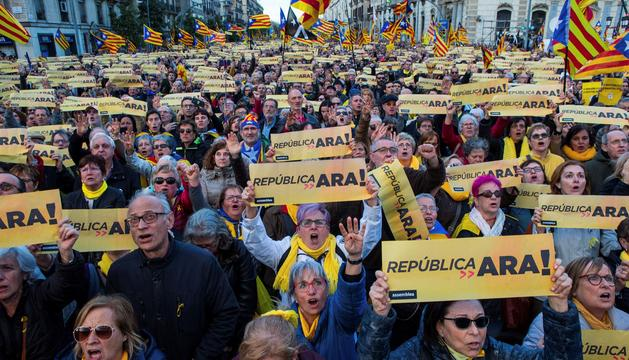 Manifestants ahir a Barcelona.