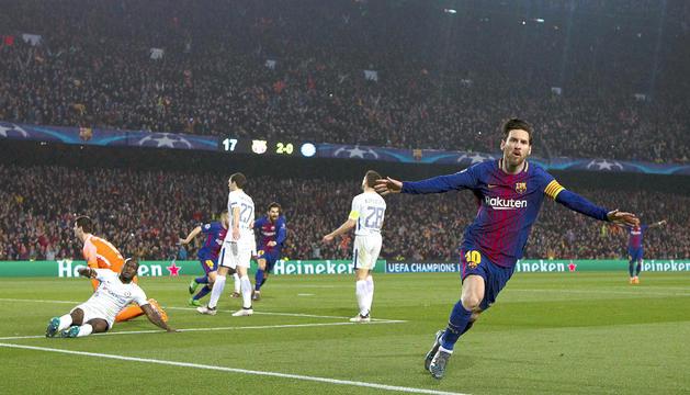Messi ahir va anotar un doblet que el va fer centenari en Champions.