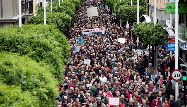 Milers de persones es van manifestar pels carrers de Madrid, ahir.