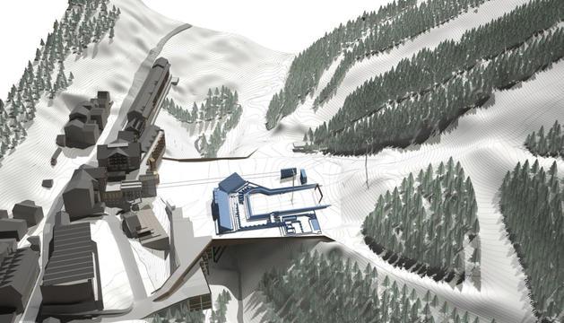 Imatge simulada de la plataforma esquiable de Soldeu.
