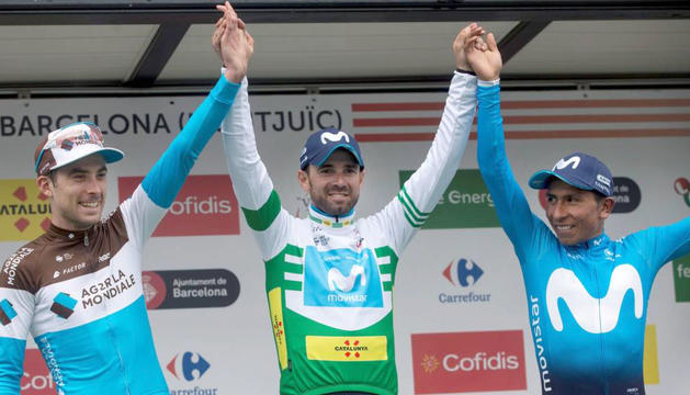 El podi final de la 98a edició de la Volta a Catalunya amb Alejandro Valverde al centre.