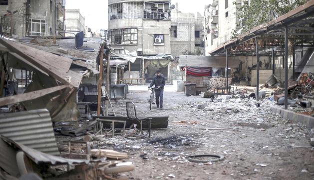 Imatge de la ciutat de Duma, que va patir els efectes dels atacs de dissabte.