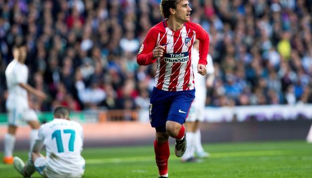 Griezmann celebra el gol de l'empat al Bernabéu.