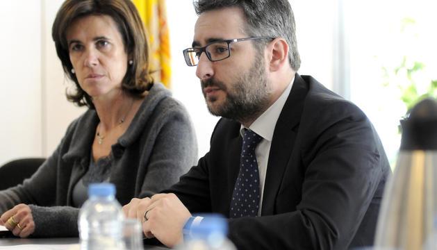La directora general d'Escola Andorrana, Esther Vilarrubla, i el ministre d'Educació i Ensenyament Superior, Eric Jover