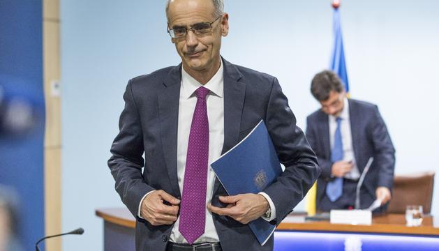 El cap de Govern, Toni Martí, durant la roda de premsa d'aquesta tarda