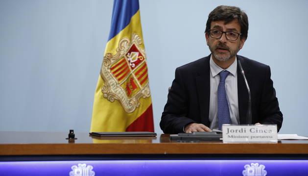 El ministre portaveu, Jordi Cinca, a la roda de premsa d'avui