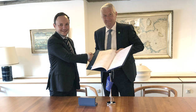 El ministre de justícia, Xavier Espot, a la signatura del protocol