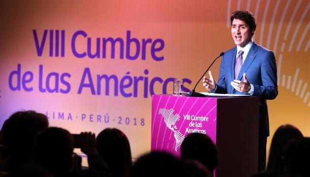El primer ministre del Canadà, Justin Trudeau, ahir a Lima.