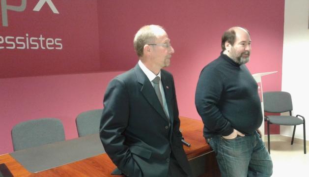 Víctor Naudi i Joan Marc Miralles, a la seu d'SDP.