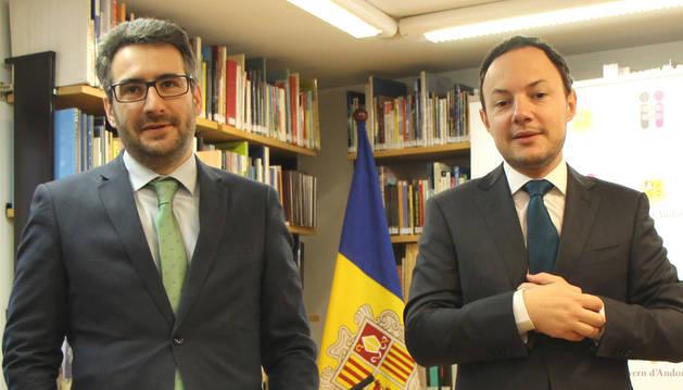 Els ministres Eric Jover i Xavier Espot aquest matí.