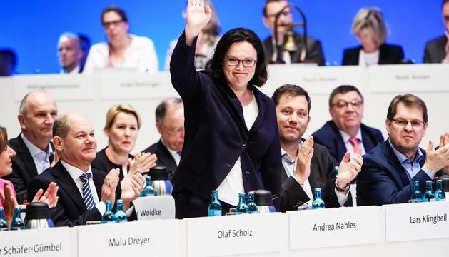 Andrea Nahles va ser escollida ahir presidenta dels socialdemòcrates alemanys.
