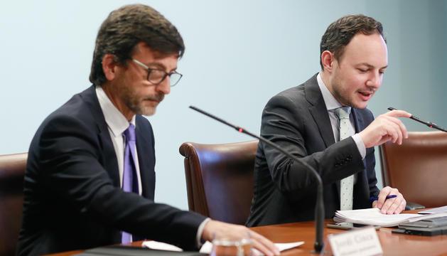 Els ministres Cinca i Espot a la roda de premsa posterior al Consell
