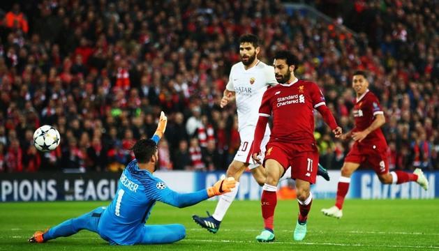 L'egipci del Liverpool Mohamed Salah va ser un autèntic malson per a la Roma.