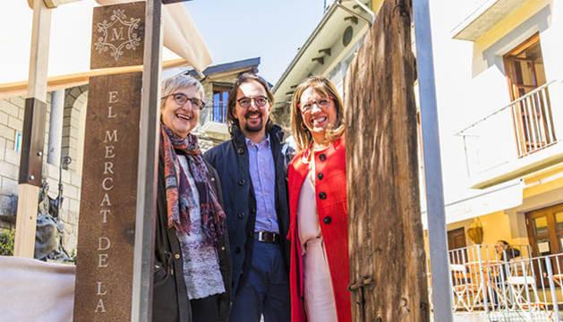 Landry Riba, Anna Riberaygua i Mònica Codina han presentat la nova edició del Mercat de la Vall