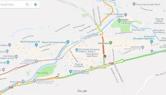 Visualització de l'eina Google Traffic