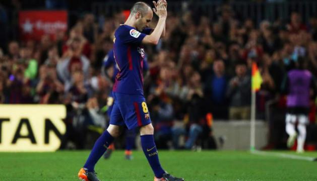 Iniesta al clàssic de diumenge contra el Reial Madrid.