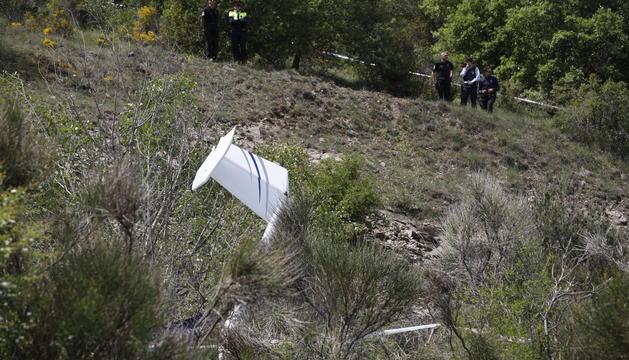 Les restes de l'avioneta estavellada.
