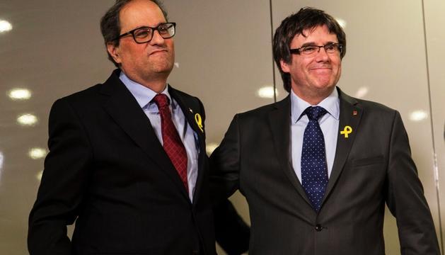 Quim Torra i Carles Puigdemont, ahir a Berlín.