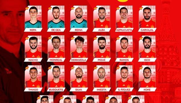 La llista de convocats de la selecció espanyola.