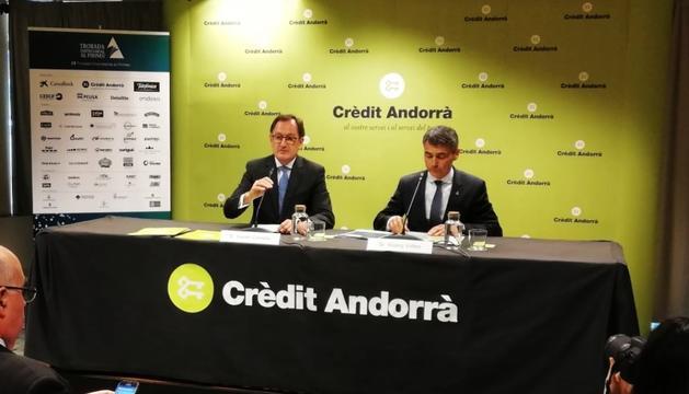 Xavier Cornella i Vicenç Voltes presentant la trobada empresarial.