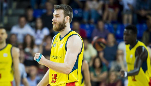 David Jelínek, en el partit d'aquesta nit al Palau Blaugrana