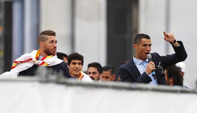 Ramos i Cristiano a la celebració de la tretzena Champions.