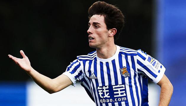 Álvaro Odriozola durant un partit amb la Reial Societat.