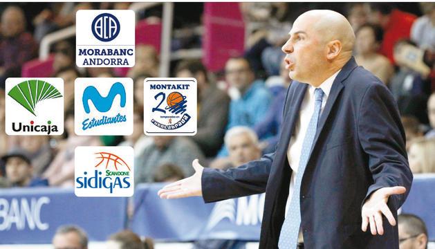 L'encara entrenador del BC MoraBanc Andorra, Joan Peñarroya, aquesta temporada al Poliesportiu d'Andorra.