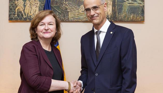 Toni Martí amb la ministra d'Afers Europeus francesa, Nathalie Loiseau.