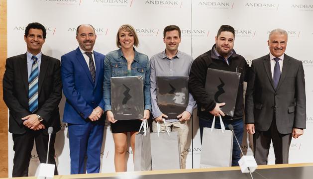 Els guardonats amb Josep Maria Cabanes, Joan Gonfaus i Pere Montes de Oca